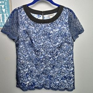Express Floral Lace Short Sleeve Blouse Top XS